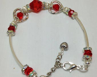 Red Crystal With Hearts Bracelet