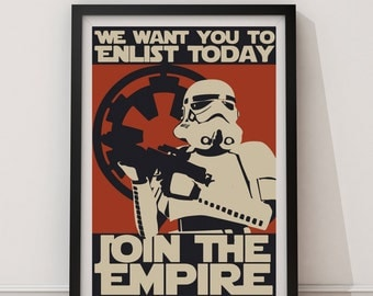 LARGE SIZE Star Wars Propaganda Poster / Join the Empire Poster / Storm Trooper Poster / Galactic Empire Propaganda / Storm Trooper Blaster