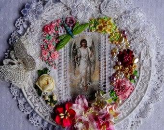 Mixed Media Angel Wall Hanging - Silk Ribbon & Vintage Lace