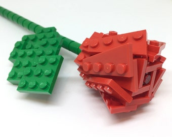 LEGO Single Stem Red Rose - Valentines Gift - Custom and Hand Made