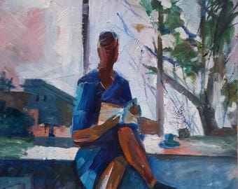 Original oil painting, A Reading Girl, Odessa artist Hasileva, European Fine Art