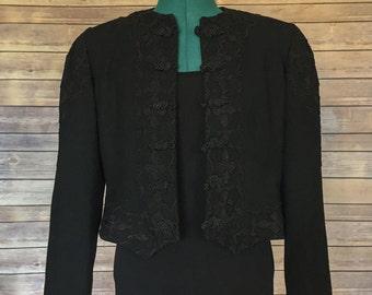Bolero Jacket | Black Bolero Jacket | Cropped Jacket | Mandarin Collar Jacket | Black Bolero | Embroidered Jacket | Vintage Workwear | Small
