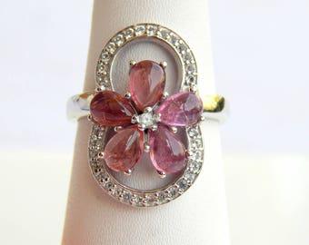 Natural Pink Tourmaline & White Topaz Ring. Pink Tourmaline pears Gemstone Ring. October Birthstone. Fashion Stylish Sterling Silver Rings