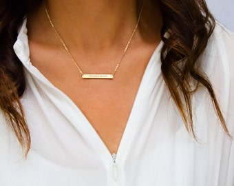Custom Bar Necklace, Custom Name Plate, Gold Filled, Sterling Silver, Rose Gold, Silver bar, Gold Bar Necklace, Initial Necklace ZN00021