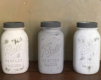 Shabby Chic Painted Mason Jars