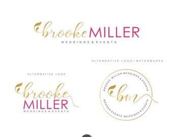 Premade Branding Kit, Photography logo, Wedding event logo, Blog logo, Watermark Pink Gold logo, Logo Design, Branding set, Logo package, 87