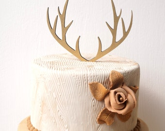 Antlers cake topper, rustic cake topper, deer antlers topper, wooden weeding cake topper, woodland wedding decoration, your choice of wood