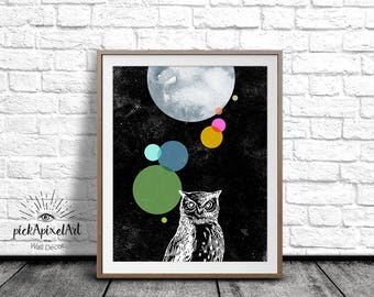 Owl Poster, Owl Illustration, Owl Wall Art, Black and White, Owl Art Print, Color Print, Digital Art Print, Printable Art