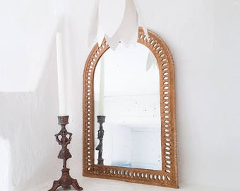 Wall mirror, vanity mirror, ornate mirror, vintage mirror, antique mirror, brass mirror, gold mirror, wall mounted mirror, bohemian decor