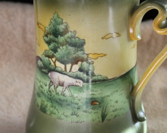 Haynes Ware Cloverdale Pottery Pitcher with Lamb / Sheep