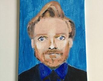 Conan O'Brien Team Coco Acrylic on Canvas Panel Original Painting 5x7