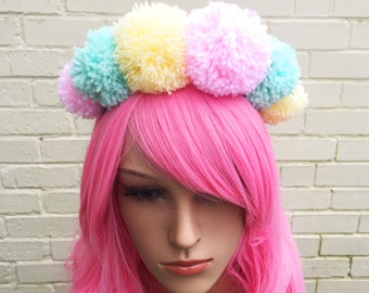 Pom Pom Headband, Kitsch Headband, Pom Pom Accessory, Festival Headband, Pastel Crown, Rainbow Band, Pom Poms, Cute Hair Accessory