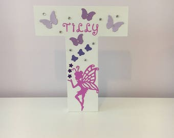 Large Wooden Decorated Letter~Freestanding~Handcrafted~Personalised Girls/Teen Name~Birthday Party Gift~Girls Room Decor~ Fairy Butterflies