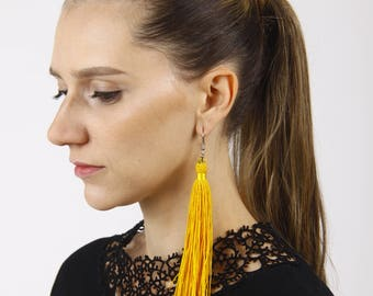 Extra Long Yellow Thread Tassel Earrings with Sparkling Crystals on Ends