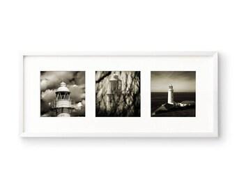 Lighthouses, Beach House Decor, Coastal Decor, Bathroom Wall Art, Square Print Set, Nautical Art, Fine Art Print, Coastal Wall Art