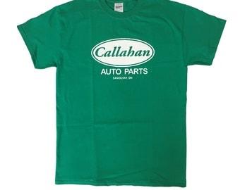 Callahan Auto Parts T-shirt Tommy Boy Movie Shirt Ohio Sandusky OH Salesman Chris Farley David Spade Company Costume 90's Adult Green