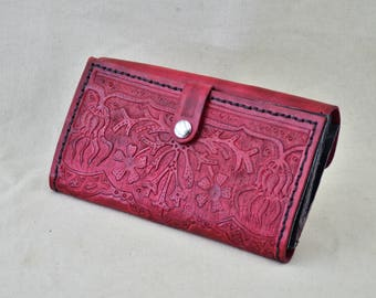 Hand-Tooled Leather Clutch Wallet with Geranium Art Nouveau Motif in Red