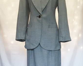 Blazer + Skirt - Two Piece Women's Suit with Black and White Houndstooth Pattern Blazer and Pencil Skirt - Size 6 - Small