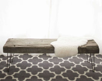 Modern reclaimed wood bench/coffee table.