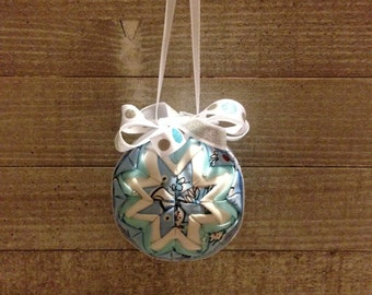 Christmas Ornaments Personalized, Christmas Ornaments Handmade, Christmas Ornaments Fabric, Xmas Ornaments, Winter Ornament, Blue and White