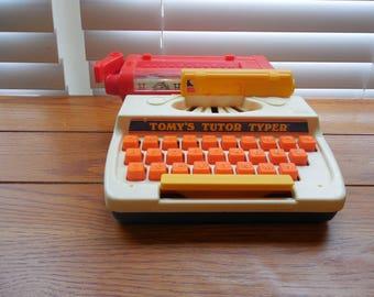 SALE Tomy's Tutor Typer Toy - 1977 - Vintage Typewriter Toy