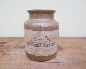 vintage earthenware french mustard pot.