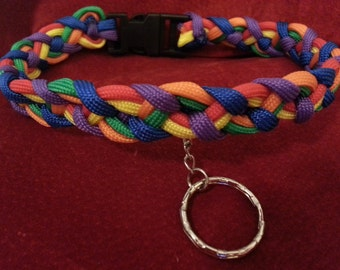 Beautiful Rainbow paracord collarBDSM - S & M and kinky fetish play - Domination submission play - gay pride collar