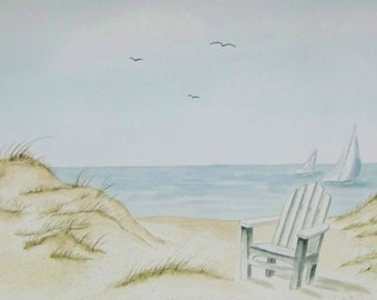 Sailboats and Chair, Realistic watercolor painting of sailboats and chair on beach.