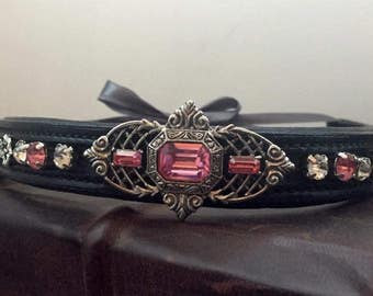 Art Deco/ Art Nouveau Antique style Pink Browband