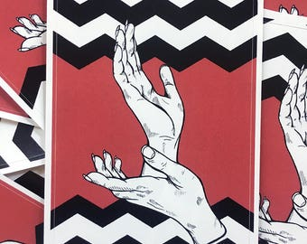 Black Lodge Sticker // Laura Palmer // Twin Peaks // Meanwhile // Garmonbozia // Special Agent Dale Cooper // David Lynch Art // Mark Frost