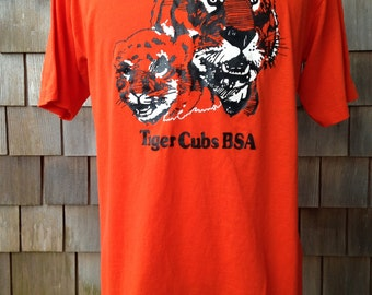 Vintage 1980s CUB SCOUTS Tiger Cubs BSA Family T Shirt - Large - Very soft and thin