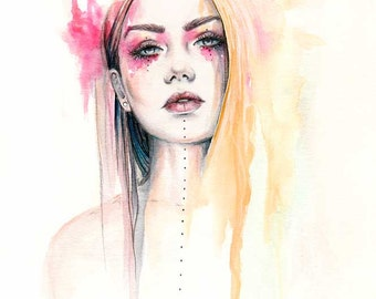 "Original watercolour ink painting ""Maeve"""