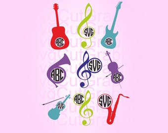 Music Instruments SVG Files, Music Svg Monogram Frames, SVG Cutting Files, Svg Files for Cricut, Silhouette SVG Files, Cricut Svg Files