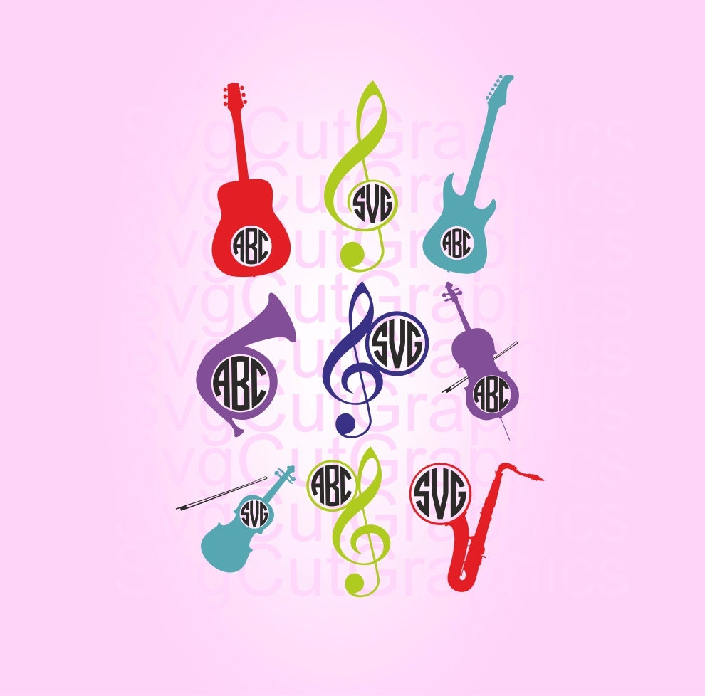 Music Instruments SVG Files Music Svg Monogram Frames SVG