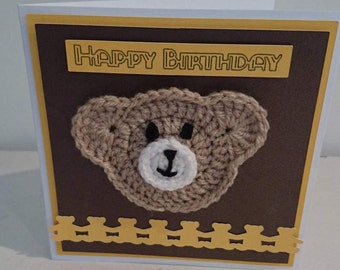 Crochet teddy bear birthday card