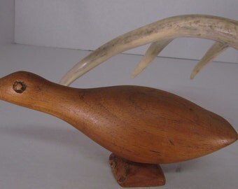 Vintage Hand carved duck, smooth wood, great condition, not signed, interesting  one of a kind duck