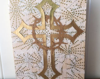 Easter cross sign, gold cross sign, crown of thorns sign, Easter wood sign, He has risen sign, religious Easter decor, cross wood sign,