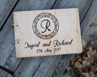 Wedding guest book alternative Rustic wooden album guestbook monogram Custom name Unique wood engraved journal Personalized gift for couple