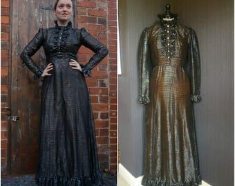 1970's Victoriana steampunk black & silver striped maxi dress