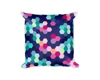 Geometric Pillow Cover, Hexagon Pillow Covers, Honeycomb Pillow Covers, Hexagon Pillowcase, Honeycomb Pillowcase, Printed, Hexagon Pattern