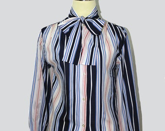 70s blue with stripes secretary vintage blouse // Vintage secretary blouse // Vintage blouse  // Bow Blouse // 70s