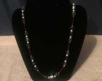 Classy Red, Clear and Silver Beaded Necklace