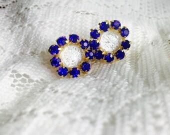 Blue and White Rhinestone Stud Earrings