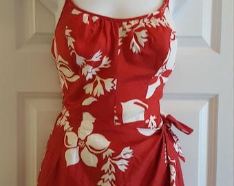 Vintage 80's does 50's Sun Fashion Red Hawaiian Print Swim/Play Suit!