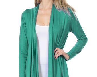 Solid Rayon Spandex Long Sleeve Jersey Cardigan Sweater Jade