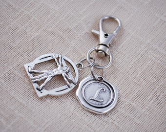 Vitruvian man keychain, da vinci, Perfect Human key chain, FREE SHIPPING, Personalized keyring, handbag cute silver accessories,