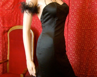 Black bridal or evening gown dress gala in mermaid with neckline pearls - to order and available in off white