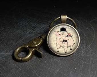 Pink pig Necklace Mustache pig pendant hat pig keychain - Pig with hat and mustache keychain - Pig with suit necklace Pig with suit keychain