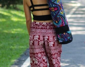 Floral Handmade Yoga Mat Bag, Yoga Bag, Sports Bags, Tote Yoga Sling bag, Pilates Bag, Pilates Mat Bag, Woven Yoga Bag