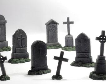 miniature gravestones: kit of 9 models